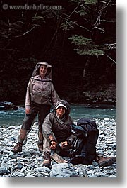 bug nets, couples, men, new zealand, vertical, wilderness travel, womens, photograph