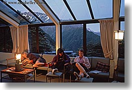 dusk, horizontal, lounging, new zealand, sunroom, wilderness travel, photograph