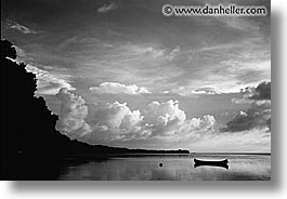 black and white, canoes, horizontal, palau, panoramic, scenics, sunsets, tropics, photograph