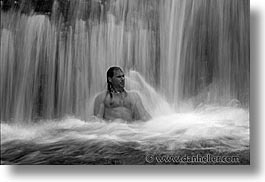 black and white, horizontal, palau, ron, tropics, waterfalls, photograph
