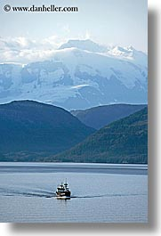 alaska, america, boats, mountains, north america, ocean, united states, vertical, photograph