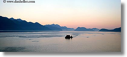 alaska, america, boats, horizontal, mountains, north america, ocean, panoramic, united states, photograph