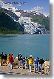 alaska, america, crowds, cruise ships, deck, glaciers, mountains, north america, people, united states, vertical, photograph