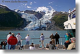 alaska, america, crowds, cruise ships, deck, glaciers, horizontal, mountains, north america, people, united states, photograph