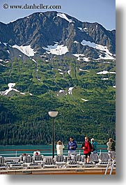 alaska, america, cruise ships, deck, mountains, north america, people, united states, vertical, photograph