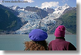 alaska, america, cruise ships, deck, glaciers, horizontal, mountains, north america, people, united states, photograph