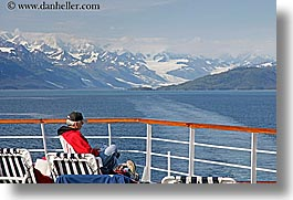 alaska, america, cruise ships, deck, glaciers, horizontal, men, mountains, north america, people, united states, photograph