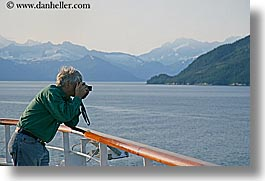 alaska, america, cruise ships, deck, horizontal, men, mountains, north america, people, united states, photograph