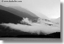 alaska, america, black and white, fog, horizontal, mountains, north america, united states, water, photograph