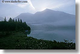 alaska, america, fog, horizontal, mountains, north america, trees, united states, water, photograph