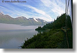 alaska, america, fog, horizontal, mountains, north america, united states, water, photograph
