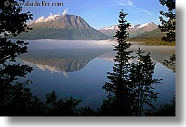 alaska, america, fog, horizontal, mountains, north america, reflections, trees, united states, water, photograph