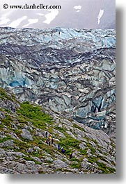 alaska, america, glaciers, hikers, north america, united states, vertical, photograph