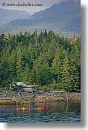 alaska, america, houses, kayakers, ketchikan, north america, united states, vertical, photograph