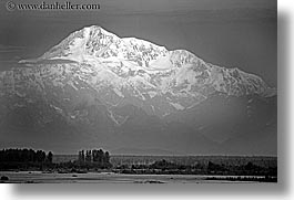 alaska, america, black and white, horizontal, mckinley, mountains, north america, united states, photograph
