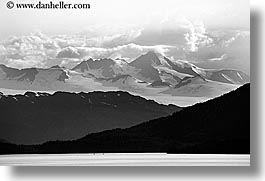 alaska, america, black and white, horizontal, mountains, north america, united states, photograph