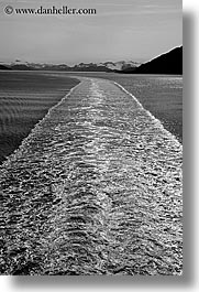 alaska, america, black and white, north america, ocean, ships, sun ocean, united states, vertical, wake, water, photograph