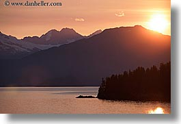 alaska, america, horizontal, mountains, north america, sun ocean, sunsets, united states, water, photograph