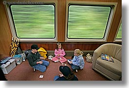 alaska, america, cards, girls, horizontal, north america, playing, slow exposure, trains, united states, photograph