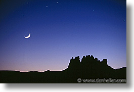 america, arizona, desert southwest, horizontal, monument, monument valley, moon, north america, united states, valley, western usa, photograph