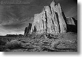 america, arizona, black and white, desert southwest, horizontal, monument, monument valley, north america, united states, valley, walls, western usa, photograph