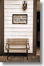 america, arizona, benches, black and white, desert southwest, north america, old tucson studios, telegraph, tucson, united states, vertical, western usa, photograph
