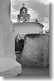 america, arizona, bells, black and white, buildings, desert southwest, north america, san xavier, tucson, united states, vertical, western usa, photograph
