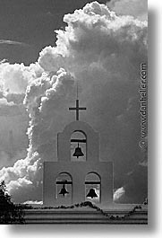 america, arizona, bells, black and white, clouds, desert southwest, north america, san xavier, tucson, united states, vertical, western usa, photograph