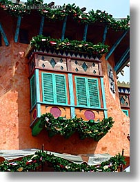 america, colorful, florida, north america, orlando, united states, universal, vertical, windows, photograph