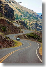 america, cars, hells canyon, idaho, north america, roads, united states, vertical, winding, photograph