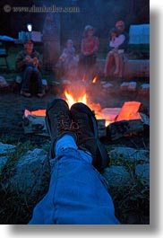 activities, america, campfire, fire, idaho, legs, north america, red horse mountain ranch, united states, vertical, photograph