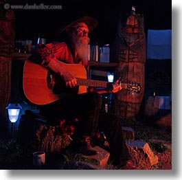 activities, america, campfire, guitars, idaho, men, north america, old, red horse mountain ranch, square format, united states, photograph