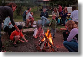 activities, america, around, boys, campfile, campfire, childrens, fire, girls, horizontal, idaho, north america, people, red horse mountain ranch, united states, photograph