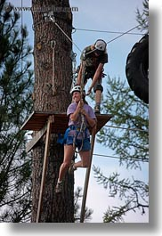 activities, america, clothes, hats, helmets, idaho, jills, nature, north america, plants, red horse mountain ranch, trees, united states, vertical, zip line, zipline, photograph