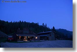 america, dusk, horizontal, idaho, north america, red horse mountain ranch, saloon, united states, photograph