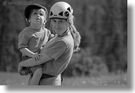 america, black and white, carrying, clothes, hats, helmets, horizontal, idaho, jack jill, jacks, jills, north america, people, red horse mountain ranch, united states, photograph