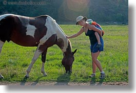 america, horizontal, horses, idaho, jack and jill, jack jill, north america, people, petting, red horse mountain ranch, united states, photograph