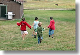 america, boys, childrens, horizontal, idaho, north america, people, red horse mountain ranch, running, united states, photograph