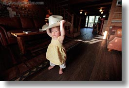 america, babies, big, childrens, clothes, cowboy hat, girls, hats, horizontal, humor, idaho, north america, people, red horse mountain ranch, united states, photograph