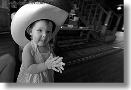 america, babies, big, black and white, childrens, clothes, cowboy hat, girls, hats, horizontal, idaho, north america, people, red horse mountain ranch, united states, photograph