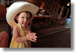 america, babies, big, childrens, clothes, cowboy hat, girls, hats, horizontal, idaho, north america, people, red horse mountain ranch, united states, photograph