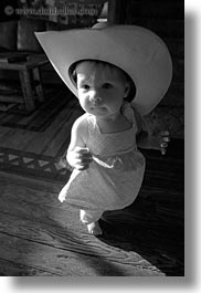 america, babies, big, black and white, childrens, clothes, cowboy hat, girls, hats, idaho, north america, people, red horse mountain ranch, united states, vertical, photograph