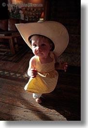 america, babies, big, childrens, clothes, cowboy hat, girls, hats, idaho, north america, people, red horse mountain ranch, united states, vertical, photograph