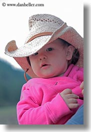 america, babies, childrens, clothes, girls, hats, idaho, north america, people, pink, red horse mountain ranch, straw hat, united states, vertical, photograph