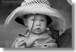 america, babies, black and white, childrens, clothes, girls, hats, horizontal, idaho, north america, people, pink, red horse mountain ranch, straw hat, united states, photograph