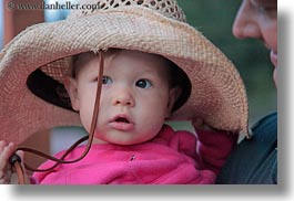 america, babies, childrens, clothes, girls, hats, horizontal, idaho, north america, people, pink, red horse mountain ranch, straw hat, united states, photograph