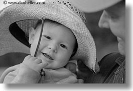 america, babies, black and white, childrens, clothes, emotions, girls, happy, hats, horizontal, idaho, north america, people, pink, red horse mountain ranch, smiles, straw hat, united states, photograph