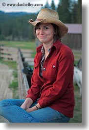 america, cowboy hat, emotions, girls, idaho, north america, people, red horse mountain ranch, smiles, staff, united states, vertical, photograph