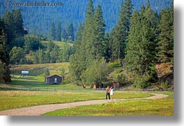 america, couples, horizontal, idaho, north america, red horse mountain ranch, roads, scenics, united states, walking, photograph