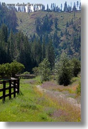 america, fences, idaho, mountains, north america, red horse mountain ranch, scenics, trees, united states, vertical, photograph